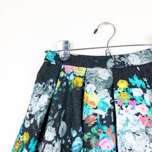 Lush Skirts - Lush Black with Colorful Floral Print Skirt